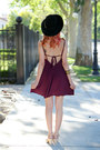 Maroon-shift-dress-tobi-dress-black-felt-similar-hat
