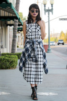 white plaid Forever 21 dress - black lace up boots Forever 21 boots