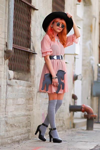 black oversized hat - light pink sheer Motel Rocks dress - heather gray socks