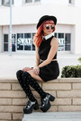 Black-cut-out-tobi-dress-black-felt-forever-21-hat-black-tuk-wedges