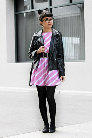 black motorcycle Forever 21 jacket - bubble gum striped Rumorless Threads dress
