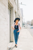 black brixton hat - blue high waisted jeans - black stripes Betsey Johnson bag