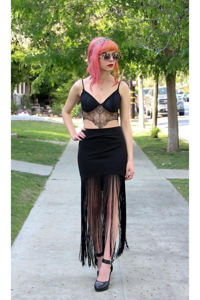 red lipstick sephora accessories - black lace romwe bra