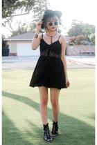 black lace dress Tobi dress - black lace up boots - black wool hat