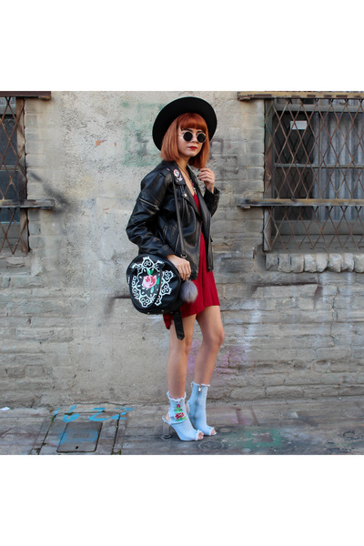 light blue denim boots - black hat - black sunglasses - ruby red chiffon romper