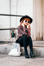 Black-sequin-juicy-couture-boots-black-wide-brim-hat-white-artsy-kadell-bag