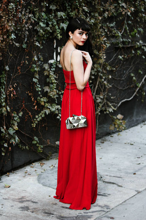 red embellished Little Mistress dress - silver romwe bag