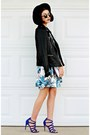 Blue-floral-missguided-dress-black-felt-forever-21-hat