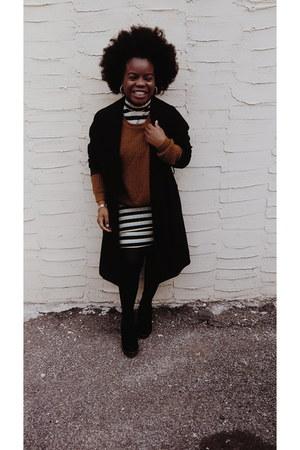 black H&M boots - yellow Zara dress - deep purple H&M coat