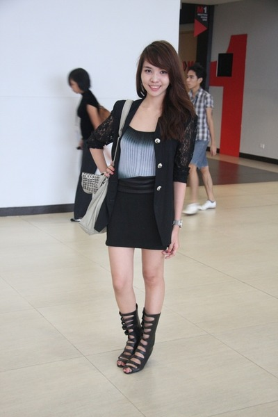 black Rockwell shoes - black thrifted blazer - silver hongkong top - gray Aldo a