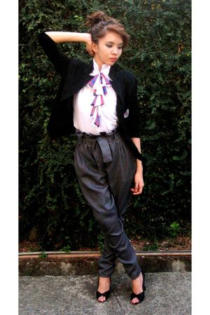 white Mirage top - gray Mirage pants - black blazer - black CMG shoes