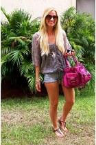 sheer Julies Closet shirt - Michael Kors purse - cutoffs American Eagle shorts