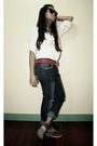 White-top-gold-ray-ban-sunglasses-red-sebago-shoes-red-belt-blue-jeans-
