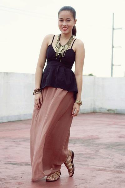 dark brown maxi Forever 21 skirt - black peplum random from Hong Kong top