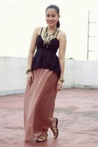 dark brown maxi Forever 21 skirt - black peplum random from Hong Kong top