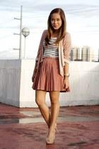 salmon pleated Paint Me Colourful skirt - white stripes H&M dress