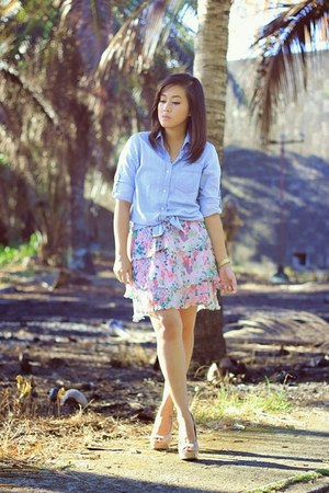 light blue denim shirt baleno top - light pink Zara skirt