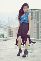 fringe DIY skirt - Bakers boots - sheer romwe top - feathers earrings