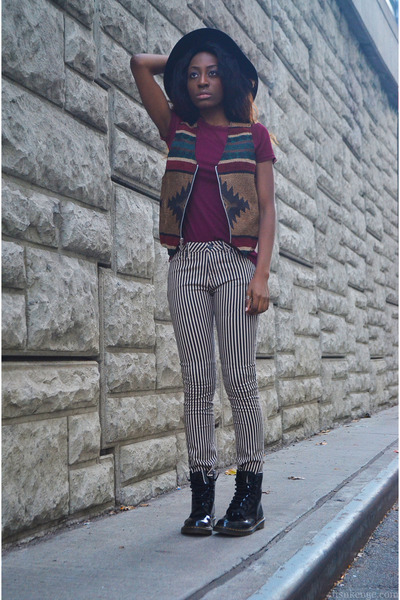 top - magenta mesh top hm top - black patent leather Dr Martens boots