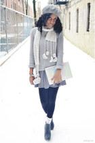 heather gray knit banana republic sweater - heather gray dress H&M dress