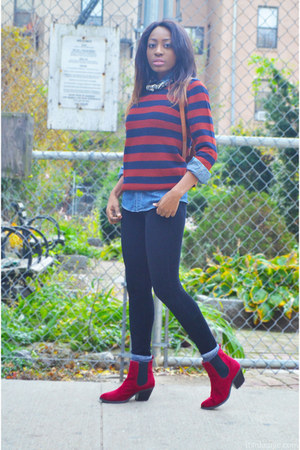 crimson wool JCrew sweater - red faux suede Shoedazzle boots
