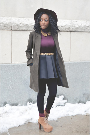 black neoprene Choies skirt - tan booties boots - dark khaki wool coat