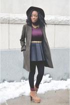 black neoprene Choies skirt - tan booties boots - dark khaki wool coat