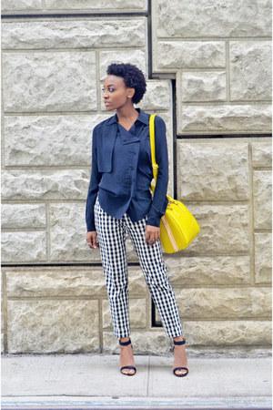 white gingham pants - light yellow crossbody bag - black silk top