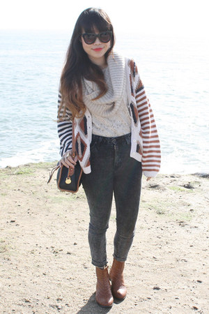 white Ruff Hewn sweater - dark gray Just Usa jeans