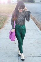 navy jor lace blouse DV by dolce vita top - green Motel pants