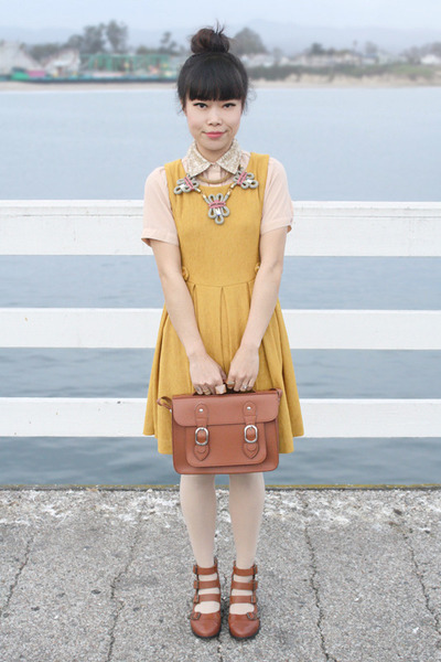 gold Holst  Lee necklace - brown Topshop boots - mustard Ya dress
