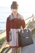 crimson colorblock coat OASAP coat - black Kimchi Blue bag