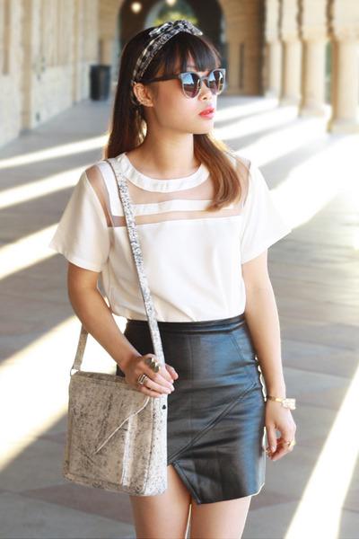 white simone bag Lauren Merkin bag - dark gray sunglasses zeroUV sunglasses