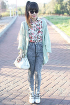 pink floral blouse Charlotte Russe blouse - silver Jeffrey Campbell boots