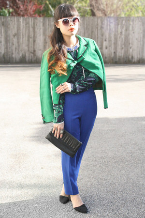 green aryn k blouse - white zeroUV sunglasses - blue liz claiborne pants