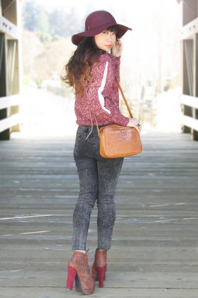 brown liz claiborne bag - crimson tapestry lita Jeffrey Campbell shoes