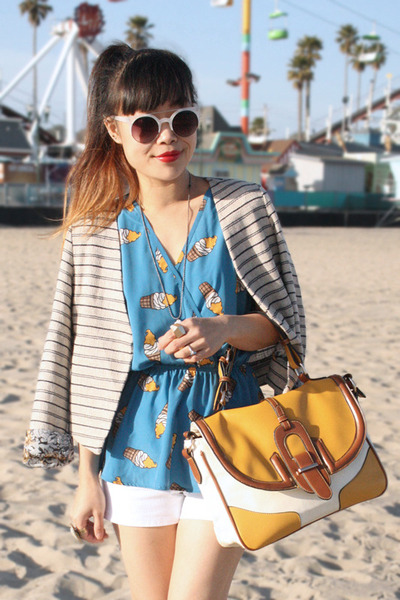 blue Love top - off white Many Belles Down blazer - mustard GoJane bag