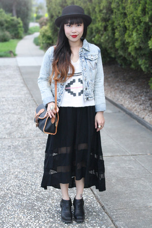 black wool boater hat f21 hat - black rumi boots Jeffrey Campbell boots