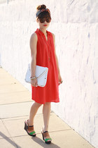 red Old Navy dress - dark brown zeroUV sunglasses - navy Sole Society wedges