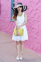 white GoJane dress - yellow banana necklace Lulu Frost necklace