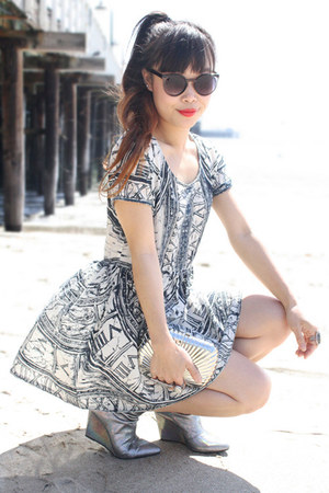 white evil twin dress - silver H&amp;M boots - black sunglasses zeroUV sunglasses