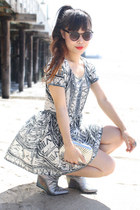 white evil twin dress - silver H&M boots - black sunglasses zeroUV sunglasses
