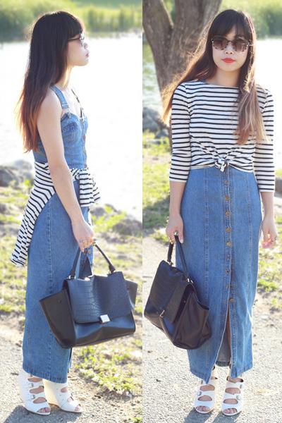 white stripes top f21 top - sky blue Rampage dress - black OASAP bag