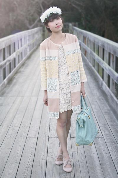 neutral Champagne and Strawberry jacket - ivory Lush dress