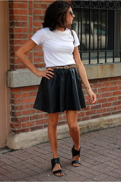 Black Faux Leather H&m Skirt