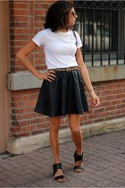 black faux leather H&M skirt - white Hanes t-shirt - black Nine West sandals
