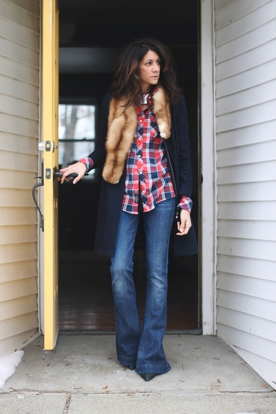red plaid thrifted shirt