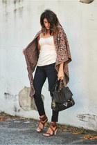 JBrand jeans - leopard shawl cape - Chloe heels