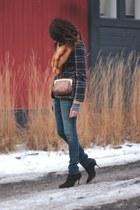 leopard print jess rizzuti bag - Current Elliot jeans - plaid vintage blazer