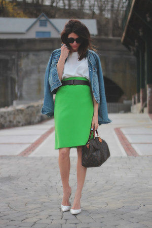 green vintage skirt - denim jacket - ivory viinatge shirt
